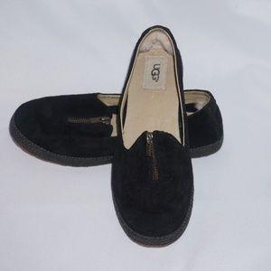 Ugg Black Selarra Genuine Sheepskin Lined Flat